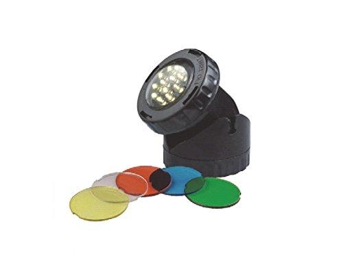 AquaForte LED Teich und Gartenbeleuchtung (1x 1,6 Watt) für trockene und unter Wasser Aufstellung geeignet! Inkl. 4 Farbscheiben!