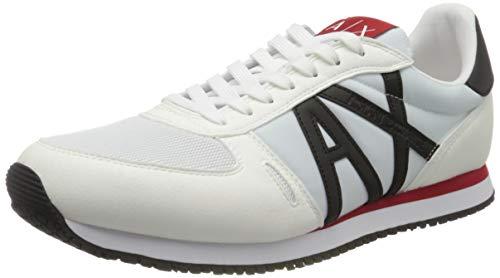 Armani Exchange Retro Running Sneakers, Zapatillas Hombre, Blanco (Op.White+Black K488), 45 EU