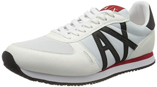 Armani Exchange Retro Running Sneakers, Zapatillas para Hombre, Blanco (Op.White+Black K488), 44 EU