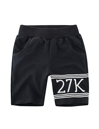 Askong - Pantalón corto con bolsillo para niños de 1 a 10 años Negro Negro ( 5-6 años