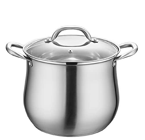 Sin recubrimiento/Antiadherente/Olla de acero inoxidable 304 / Utensilios de cocina/con tapa de vidrio templado/Mango para gas/Inducción y otros hornos de calentamiento,-26cm