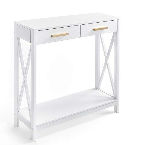 Prosumer's Choice White 2-Tier Compact Sofa and Console Table, Elegant Entryway or Hallway Side...