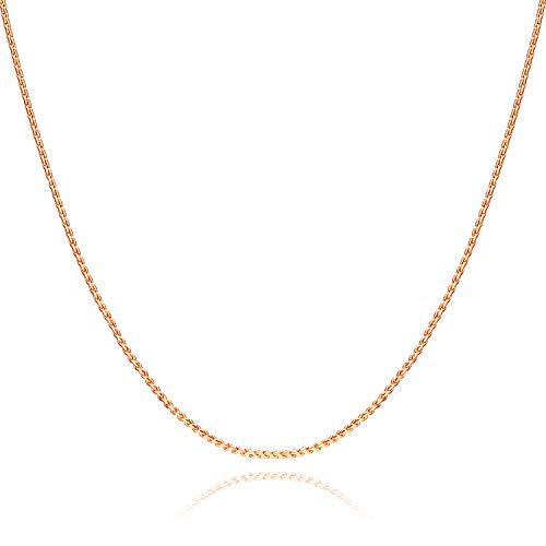 Nocciola 18 Karat vergoldete 1mm Seilkette Halskette | Fashion Twisted Serpentine Chain für Anhänger | Zierlicher Schmuckhalsband für Frauen mit kostenloser lebenslanger Ersatzgarantie