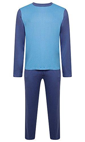 Herren Nachtwäsche PJ Pyjama Satz Zweiteiliger schlafanzug Nacht Tragen 100{3263facd6b3a8b3a4f79b5014fead6c3c5a92879a9d8dc0620f421bad37b4ef3} Baumwolle - Marine Blau / Hellblau - X-Large