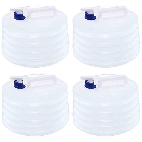 Tebery - Set di 4 contenitori per acqua da 5 l, pieghevole, portatile e pieghevole, contenitore per il trasporto di acqua all'aria aperta, per campeggio, escursionismo, picnic, BBQ