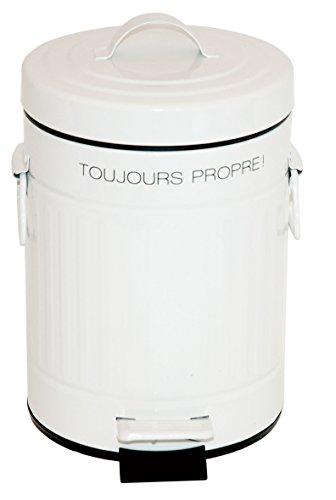 Incidence Paris 75192 Poubelle Rétro Toujours Propre ! Métal Blanc 3 L 17 x 17 x 27 cm