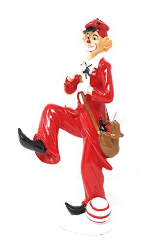 N / A Dekofigur Clown mit Ball und Tasche rot weiß 25 cm Figur Karneval Köln Harlekin