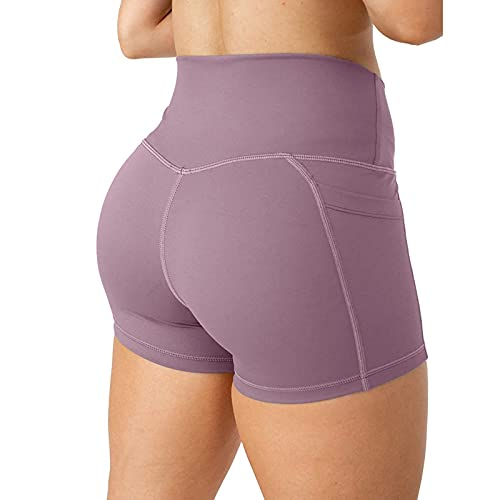 Pantalones cortos de yoga para mujer, entrenamiento, gimnasio, culo, color sólido, control de barriga
