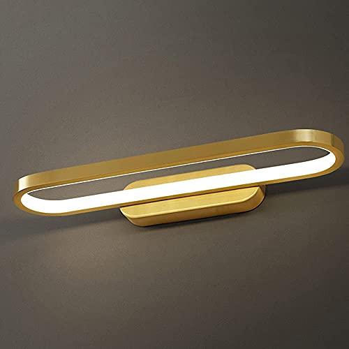 Lampada da parete moderna e minimalista, lampada da specchio dorata da bagno, lampada frontale da specchio per il trucco, lampada da parete da bagno impermeabile in ottone, utilizzata per l'illum