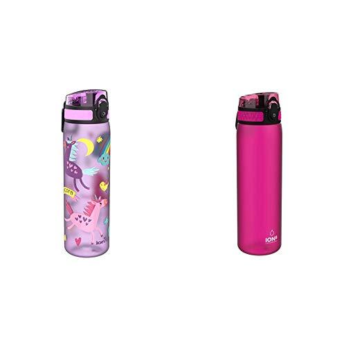 Ion8 Auslaufsichere Schlanke Trinkflasche, BPA-frei, 600ml, Einhörner & auslaufsichere schlanke Wasserflasche / Trinkflasche, BPA-frei, 500ml / 18oz, Rosa (Frosted Pink)