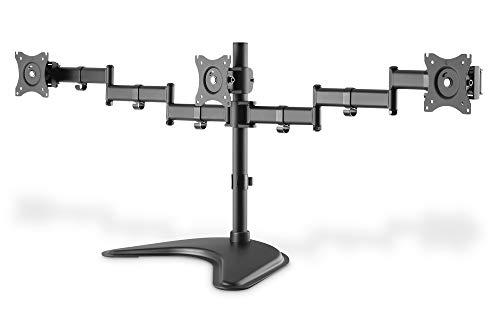 DIGITUS Soporte de Monitor - Soporte - 3 monitores - hasta 27 Pulgadas - hasta 3X 8 kg - VESA 75 100 - Negro (DA-90402)