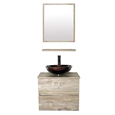 """eclife 24"""" Bathroom Vanity Sink Combo Wall Mounted Natural Cabinet Two Drawers Vanity Set Brown Round Tempered Glass Vessel Sink Top, W/ORB Faucet, Pop Up Drain & Mirror (A09E02AK)"""