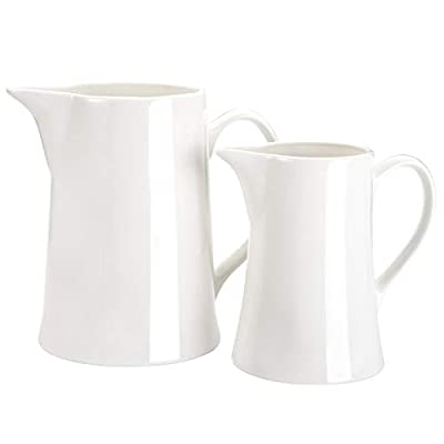 WUWEOT 2 Pack Porcelain Creamer Pitcher With Handle, Coffee Milk Creamer Pitcher Syrup Pitcher Honey Serving Pitcher Sauce Pitcher (White, 8OZ+20OZ)