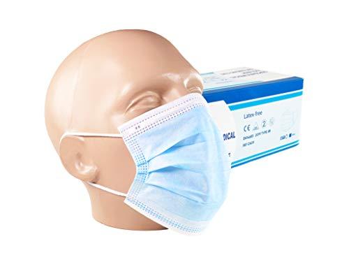 Ferreira Marques 50 Stück Medizinische Masken Typ IIR EN 14683 CE Zertifiziert BFE 98% Atemmaske Atemschutzmaske TÜV Geprüft OP Gesichtsmasken 3-lagig Einwegmaske Mundschutz Lager Deutschland