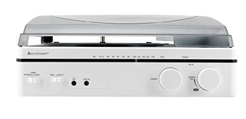 Soundmaster PL560WE Tourne-Disque avec Radio FM Design 80s