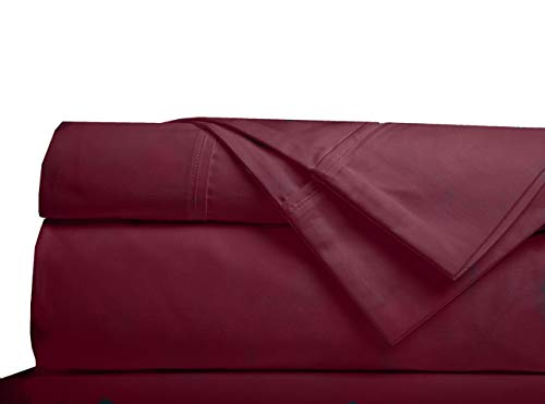 Minor Monkey Egyptian Cotton Sheets Set 1000 Thread Count 4 PC Solid Bed Sheet Set True Luxury Hotel Sheets Quality Fits Up to 17 Inches Deep Pocket - XL Twin Sheets (Twin, Burgundy)