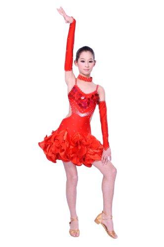 Colorfulworldstore Tanzkleid für lateinamerikanische Tänze in Damen-und Mädchengrößen rotes Kleid mit 3 Teilen