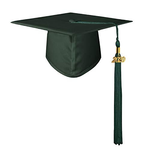 GraduationMall Doktorhut Studentenhut Erwachsene Abschluss Hut 2020 Jahreszahl Anhänger Quaste für die Abschlussfeier der High School Bachelor Universität Hochschule Graduation Cap Waldgrün