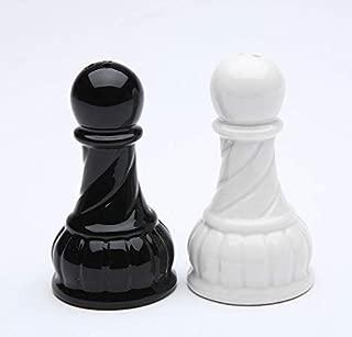 Fine Porcelain Black & White Chess Pawn Salt & Pepper Shakers Set, 2-5/8
