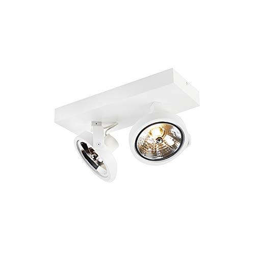 QAZQA - Design Spot | Spotlight | Deckenspot | Deckenstrahler | Strahler | Lampe | Leuchte weiß verstellbar 2-flammig-flammig inkl. LED - Go | Wohnzimmer | Schlafzimmer | Küche - Aluminium Rund | Rech