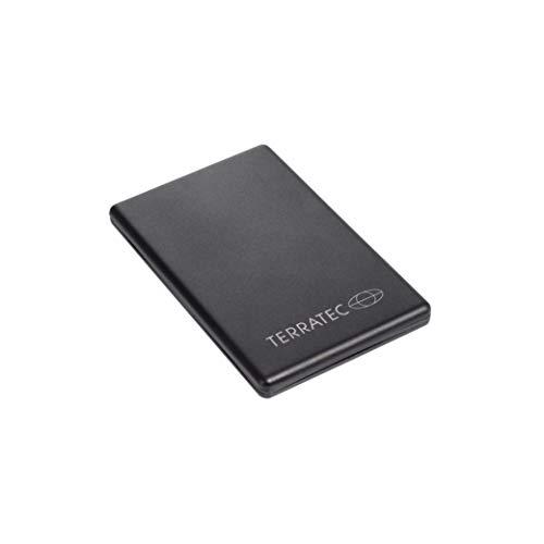 TERRATEC PB2300slim, 2.300mAh Powerbank/Externer Akku/Ladegerät, 1 x Out (USB), LED Kapazitätsanzeige, Aluminium Oberfläche, für iphone, Samsung Galaxy und weitere Smartphones, (Schwarz)