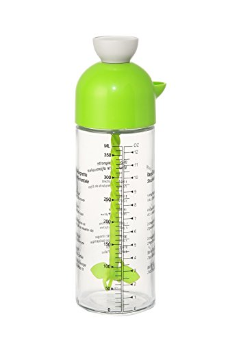 Salad Dressing Bottle - BPA Free Dispenser and Mixer for Healthy, Organic Salad Dressings, Olive Oil, Condiments -13.5 Oz. - Green
