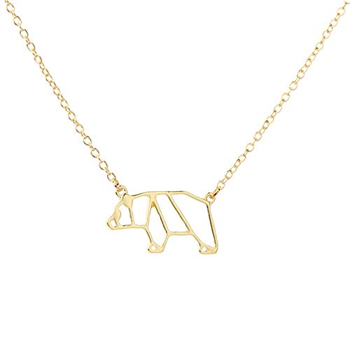 TTDAltd Collar Simple Origami Hollow Alloy Gold/Silver Cute Bear Colgantes Collar Geométrico Panda Animal Joyas Regalo para Mujer-Gold_45Cm