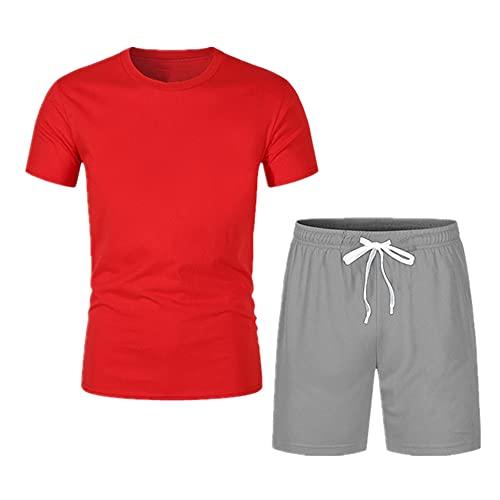 NP Color mezclado de verano Camiseta para hombre Pantalones cortos de dos piezas