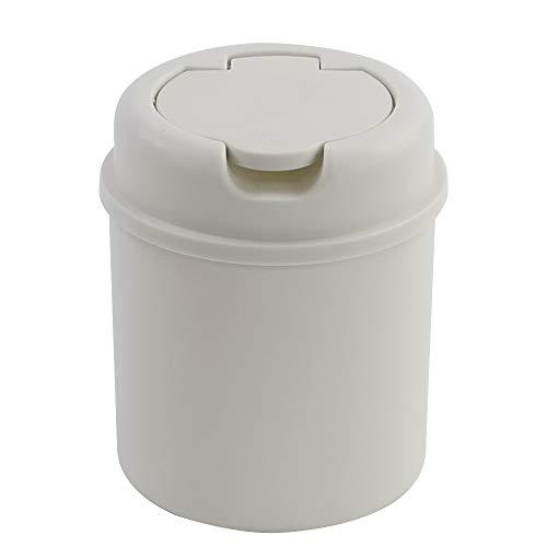 Lesbin Plactic - Papelera pequeña con tapa abatible, 0,5 galones, color blanco