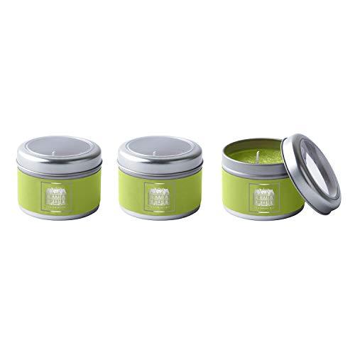Duftkerzen limegrün Güner Tee Gurke, 3er Set im Geschenkkarton, 6 x 4cm