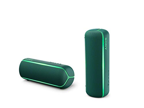 Sony SRS-XB22 kabelloser Bluetooth Lautsprecher (tragbar, farbige Lichtleiste, Extra Bass, Bluetooth, NFC, wasserabweisend, kompatibel mit Party Chain, Freisprechfunktion für Anrufe) grün