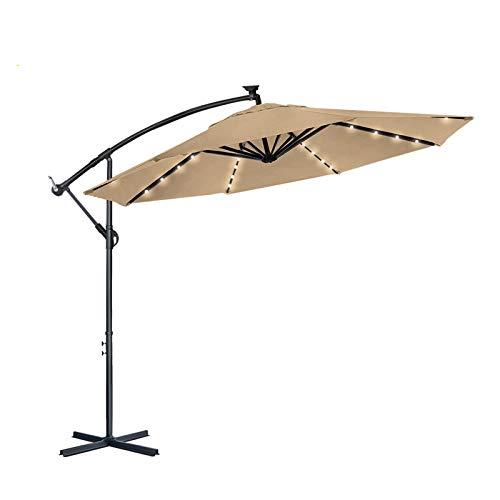Aufun Alu Sonnenschirme 350cm mit Solarbetriebene Weiß LED UV Schutz 40+ balkonschirm gartenschirm höhenverstellbarer (Khaki mit solar LED)