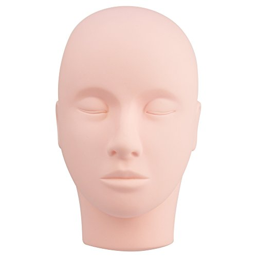 BEPHOLAN Pro Rubber Practice Training Head Cosmetology Mannequin Doll Face Head For Eyelashes Makeup Practice