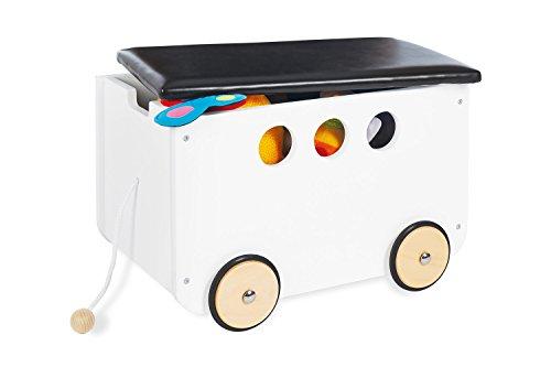 Pinolino Spielzeugkiste Jim, aus Holz und Kunstleder, mit Zugschnur und gummierten Holzrädern, Deckel abnehmbar, ab 3 J., weiß lackiert/Kunstleder schwarz
