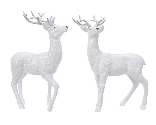 kleiner dekorativer Deko-Hirsch Weihnachts-Hirsch weiß mit Glitter Preis für 1 Stück ca. 19 cm hoch