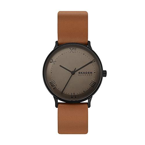 Skagen Men's Nillson Quartz Analog Stainless Steel and Leather Watch, Color: Brown (Model: SKW6621)