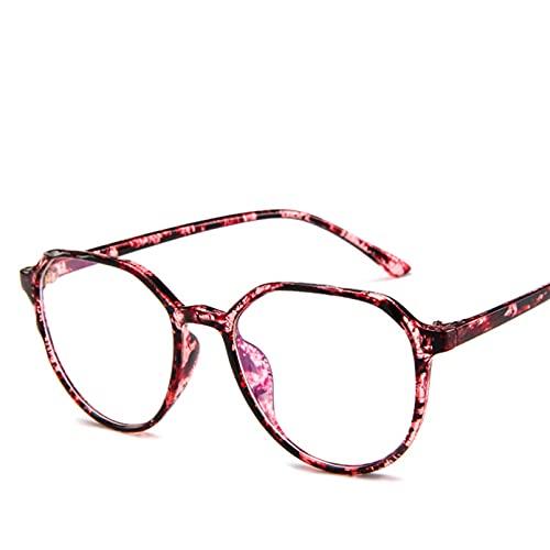 YTYASO Montura de Gafas Redondas para Hombre, Montura de anteojos ópticos de Moda para Mujer, anteojos de Color Rosa Claro Transparente