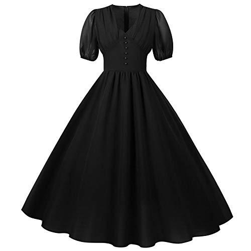 RIQWOUQT Estampado Floral Vestido Negro Mujer Gasa Vestido Largo Sexy Escote En V Color Slido Farol Manga Corta Otoo Elegante Retro Fiesta Disfraz Rojo De La Madre Regalo del Da, XL