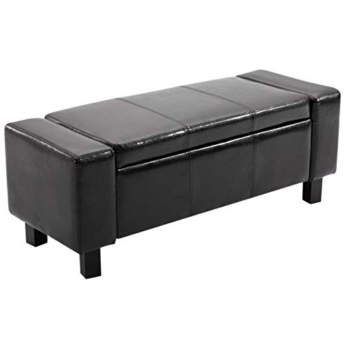 Banc coffre de rangement 2 en 1 revêtement synthétique capitonné 106L x 40l x 40H cm noir