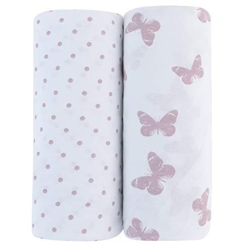 Adrienne Vittadini Bambini Jersey Cotton Standard Crib Sheets 2 Pack Lavendar Butterfly & Dots, Lavender (AVB-0016)
