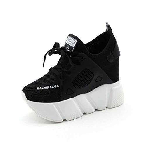 Dames Mesh Wedge Trainers Mode Veters Hoge Hakken Ademend Wandelen Hardlopen Sportschoenen Hoogteverhogende Stevige Platform Sneakers