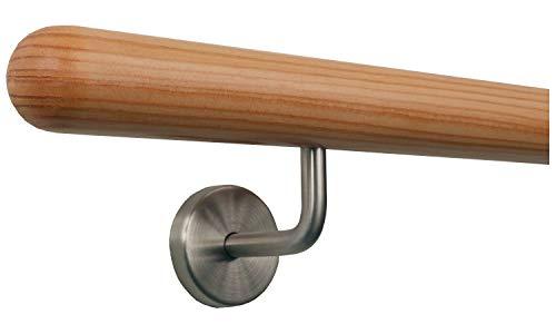 Lärche Holz Treppe Handlauf Geländer Griff gewinkelte Edelstahlhalter, Länge 30-500 cm aus einem Stück/Variante:50 cm mit 2 Halter - Enden: Halbkugel gefräst
