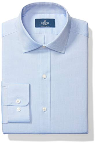 Buttoned Down Men's Classic-Fit Solid Non-Iron Dress Shirt Pocket Spread Collar