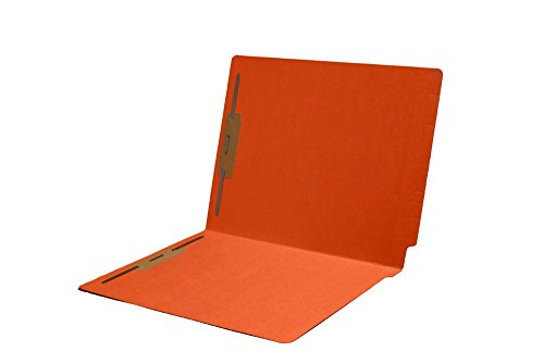11pt Folders, Assorted Colors, Full Cut 2-Ply END TAB, Letter Size, Fastener Pos #1 & #3 (Box of 50) (Orange - Smead 25640 Match)