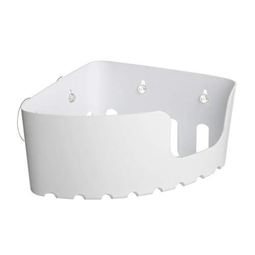 TATAY 4520301 - Cesta rinconera organizadora de ducha con ventosas, capacidad para 2 kg, Plástico Polipropileno, Color blanco, 20.5x20.5x11 cm