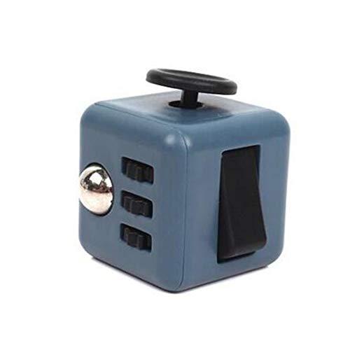 Fidget Toy Cube - Cubo Antiestres - Juego Desestresante Para Niños y Adultos - Alivia el Estrés y la Ansiedad - Fidget Toy Anti Estrés (Gris-Negro)