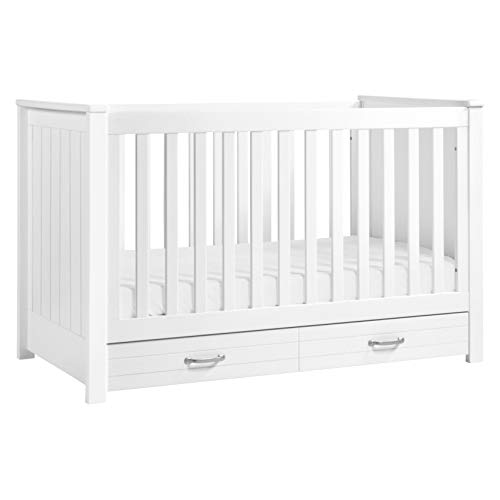 DaVinci Asher 3-in-1 Convertible Crib with Toddler Bed Conversion Kit in White, Greenguard Gold Certified