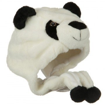 Panda Bear Animal Plush Hat with Ear Flaps & Black Poms [Toy] by Concept2