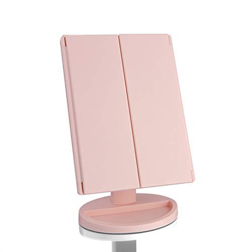 SYQS Miroir Frais de Maquillage de Mode de LED, Miroir Rouge Net de Maquillage Maquillage, Miroir dortoir Portable Pliable pour Une variété d'occasions Pink