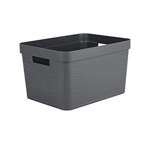 EDA PLASTIQUE Boîte de Rangement Decor Stone Anthracite - 18 L